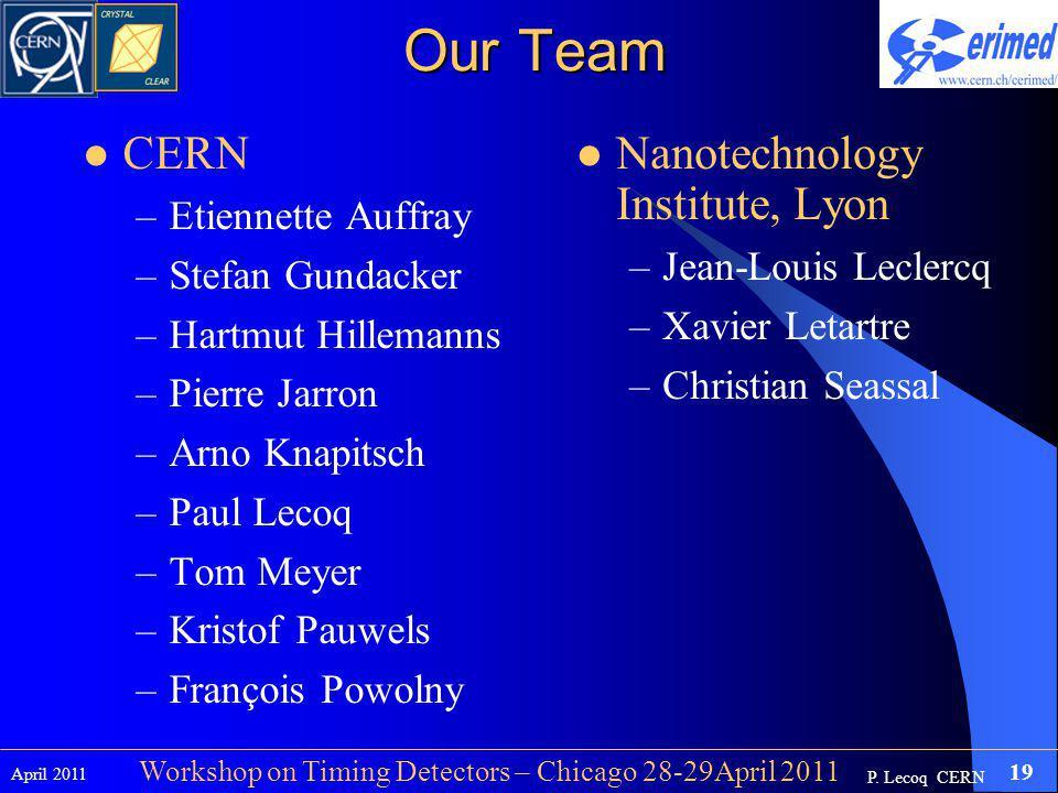 P. Lecoq CERN April 2011 19 Workshop on Timing Detectors – Chicago 28-29April 2011 Our Team CERN –Etiennette Auffray –Stefan Gundacker –Hartmut Hillem