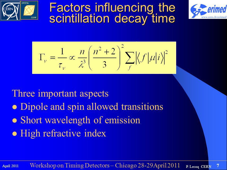 P. Lecoq CERN April 2011 7 Workshop on Timing Detectors – Chicago 28-29April 2011 Factors influencing the scintillation decay time Three important asp