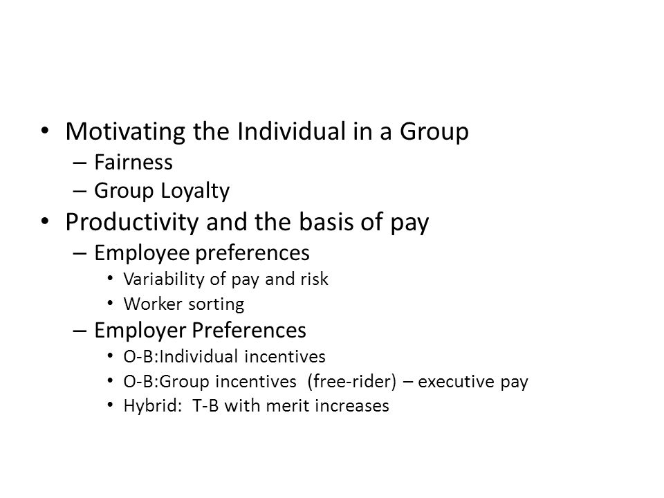 Motivating the Individual in a Group – Fairness – Group Loyalty Productivity and the basis of pay – Employee preferences Variability of pay and risk W