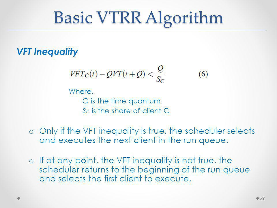 Basic VTRR Algorithm VFT Inequality Where, Q is the time quantum S C is the share of client C o Only if the VFT inequality is true, the scheduler sele