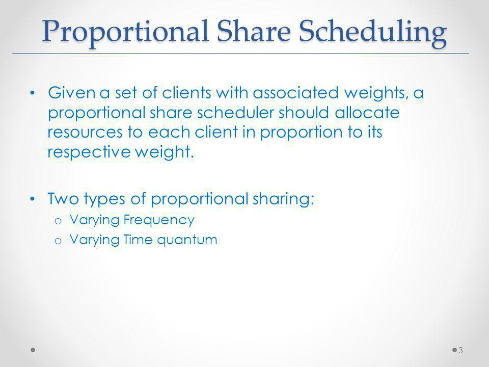Given a set of clients with associated weights, a proportional share scheduler should allocate resources to each client in proportion to its respectiv