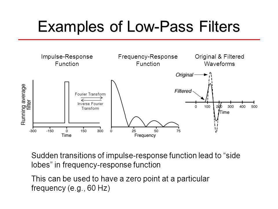 Examples of Low-Pass Filters Sudden transitions of impulse-response function lead to side lobes in frequency-response function This can be used to have a zero point at a particular frequency (e.g., 60 Hz) Impulse-Response Function Frequency-Response Function Original & Filtered Waveforms Fourier Transform Inverse Fourier Transform