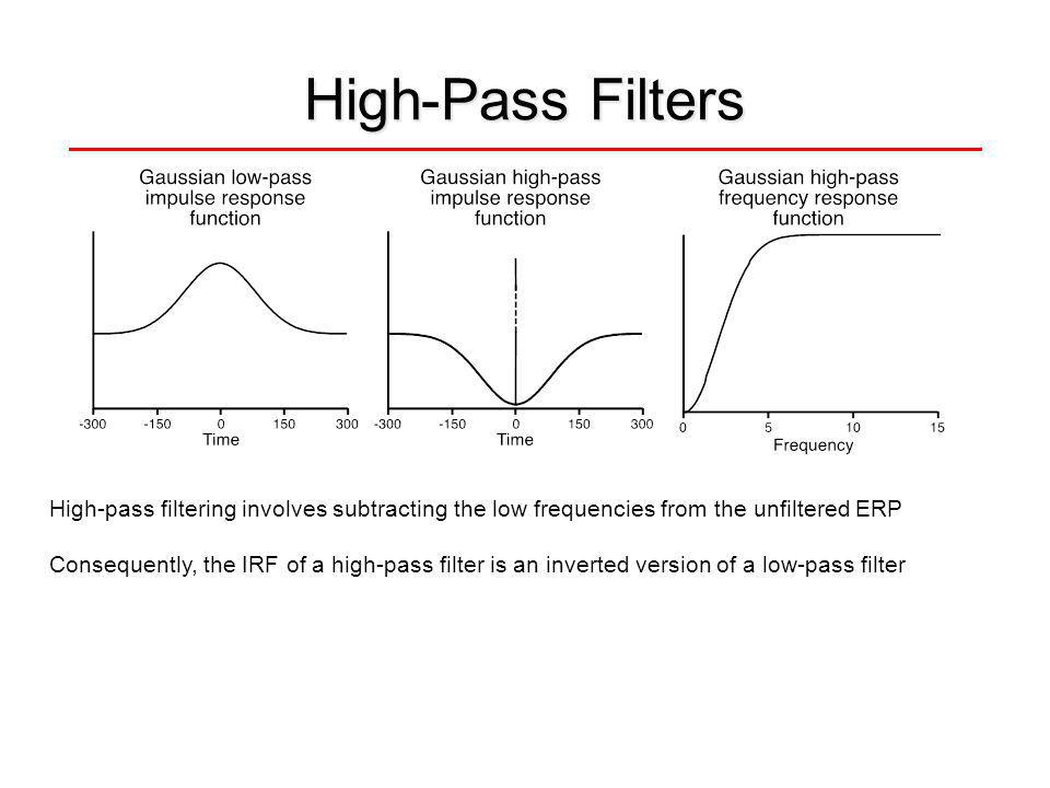 High-Pass Filters High-pass filtering involves subtracting the low frequencies from the unfiltered ERP Consequently, the IRF of a high-pass filter is an inverted version of a low-pass filter