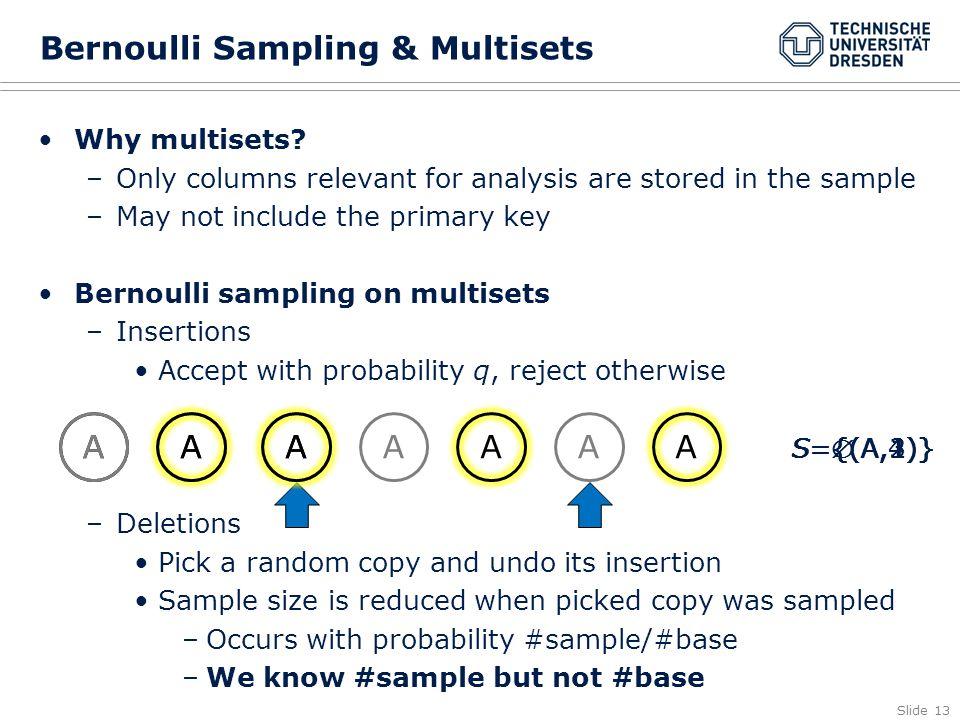 Slide 13 Bernoulli Sampling & Multisets Why multisets.