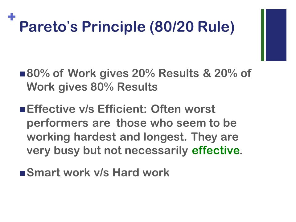+ Pareto s Principle (80/20 Rule) 80% of Work gives 20% Results & 20% of Work gives 80% Results Effective v/s Efficient: Often worst performers are those who seem to be working hardest and longest.