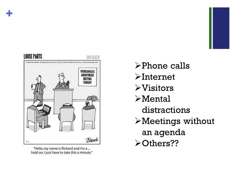 + Phone calls Internet Visitors Mental distractions Meetings without an agenda Others