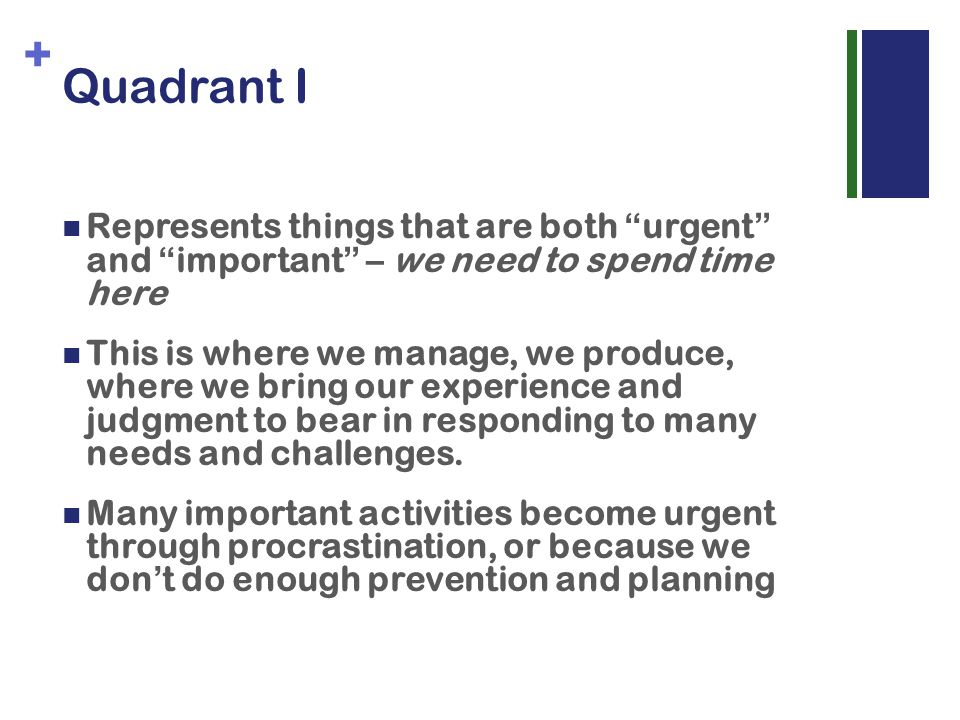 + Quadrant I Represents things that are both urgent and important – we need to spend time here This is where we manage, we produce, where we bring our experience and judgment to bear in responding to many needs and challenges.