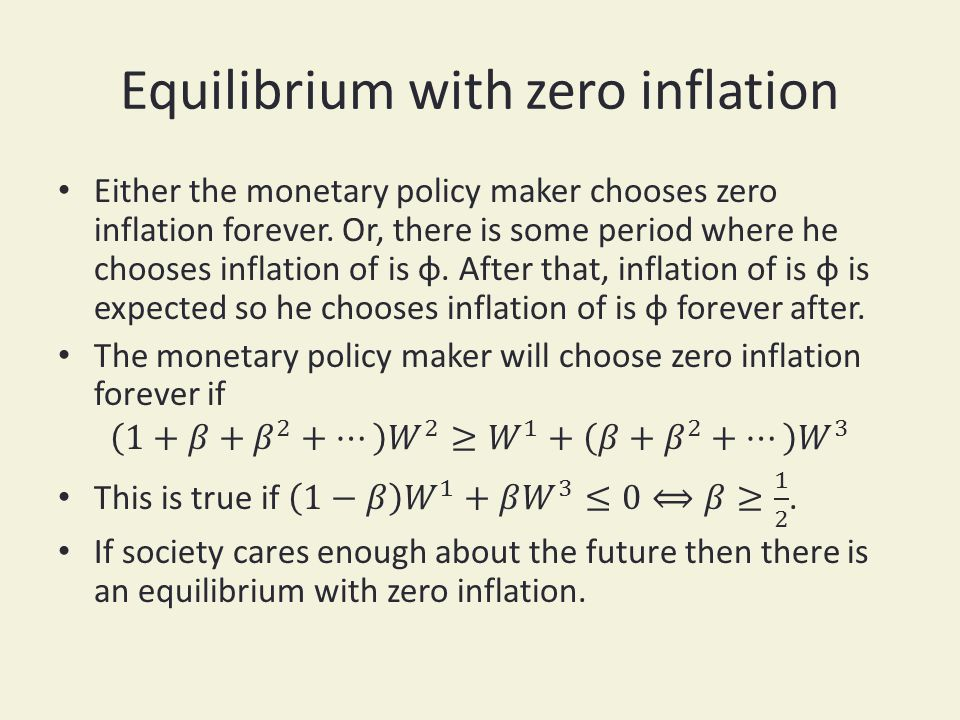 Equilibrium with zero inflation
