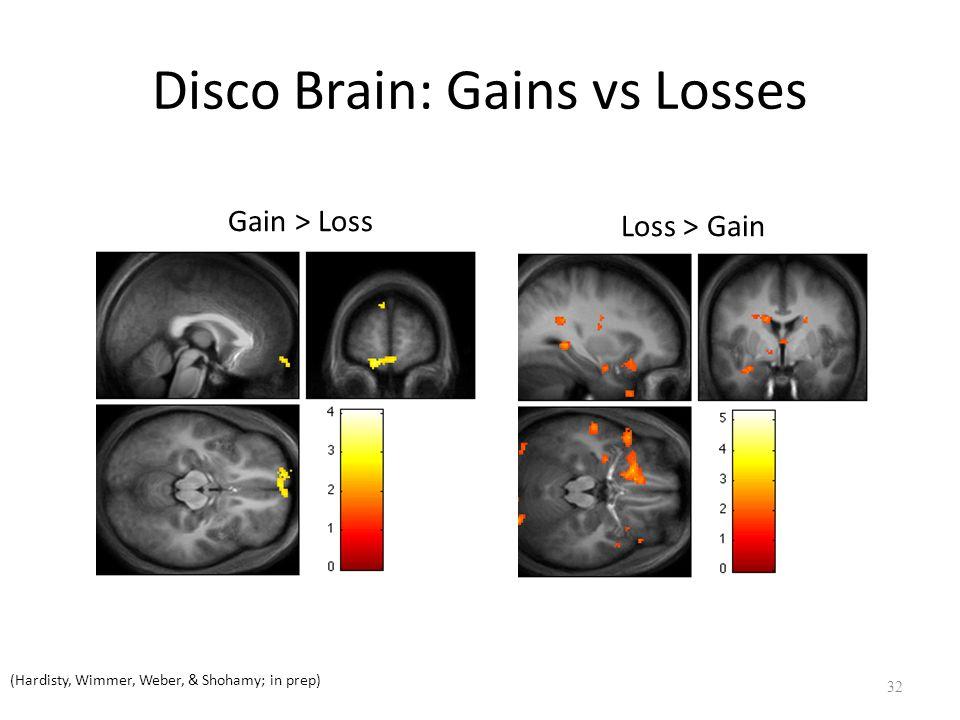 Disco Brain: Gains vs Losses 32 (Hardisty, Wimmer, Weber, & Shohamy; in prep) Gain > Loss Loss > Gain