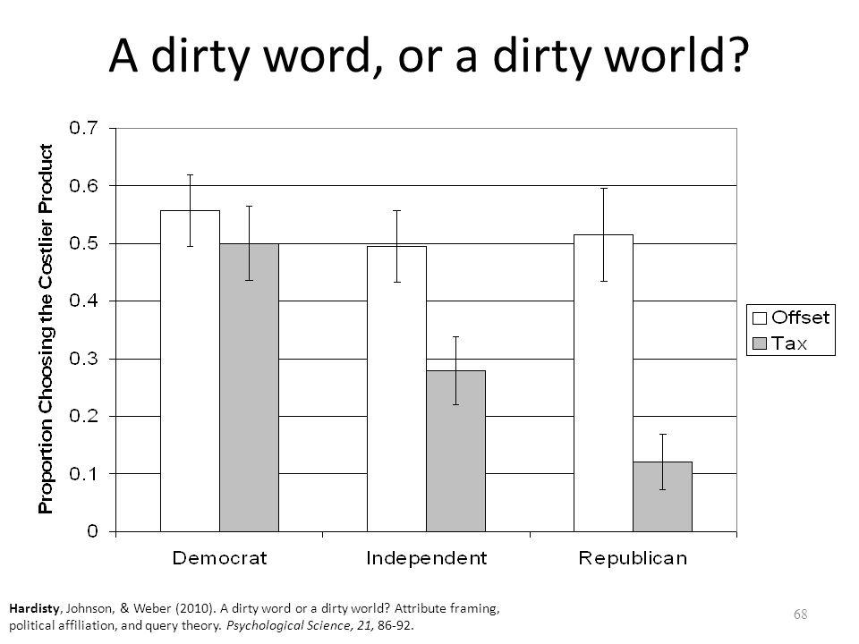 A dirty word, or a dirty world. 68 Hardisty, Johnson, & Weber (2010).