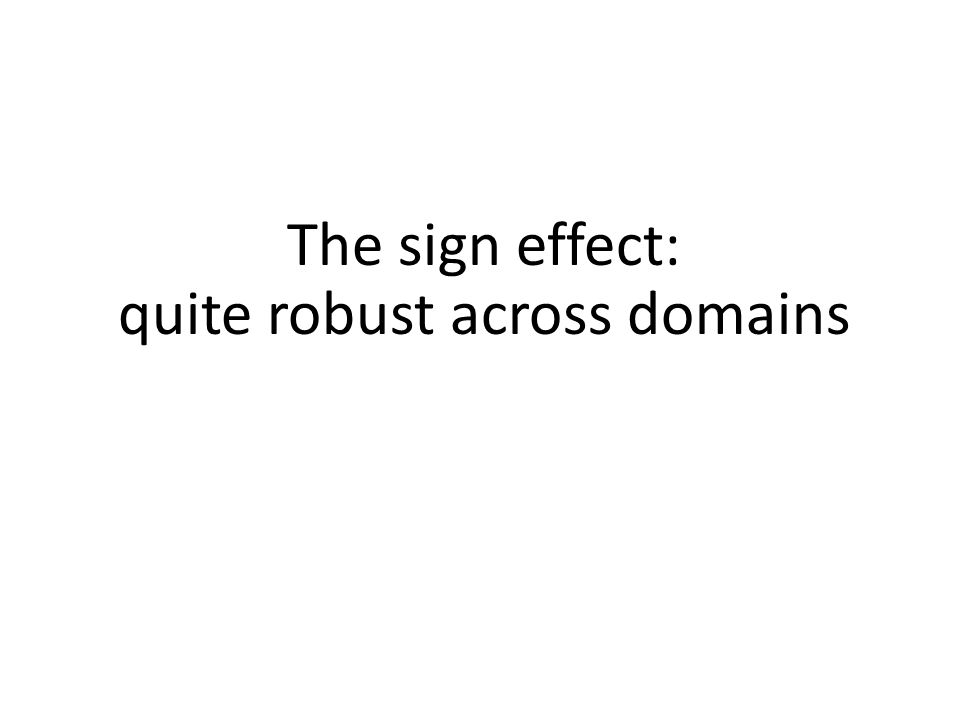 The sign effect: quite robust across domains