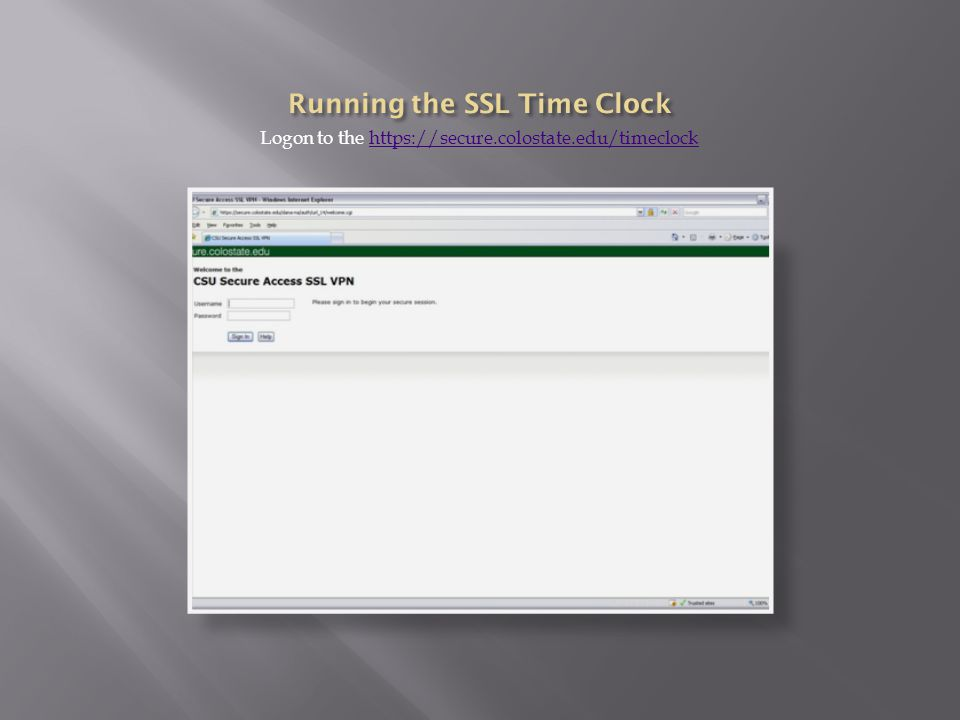 Logon to the https://secure.colostate.edu/timeclockhttps://secure.colostate.edu/timeclock