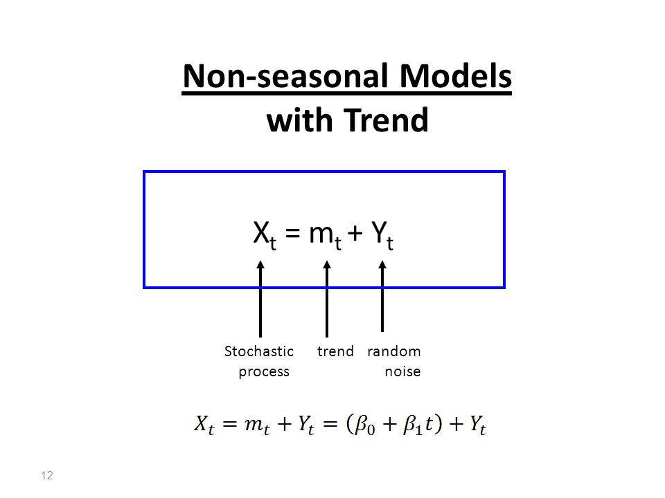 Non-seasonal Models with Trend trendStochastic process random noise X t = m t + Y t 12