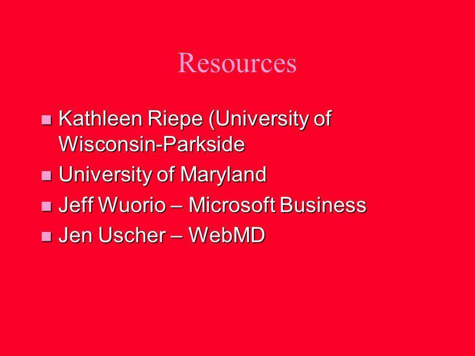 Resources n Kathleen Riepe (University of Wisconsin-Parkside n University of Maryland n Jeff Wuorio – Microsoft Business n Jen Uscher – WebMD