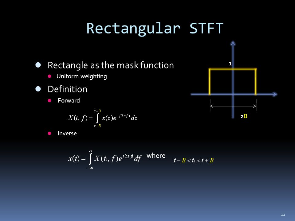11 Rectangular STFT Rectangle as the mask function Uniform weighting Definition Forward Inverse where 2B2B 1