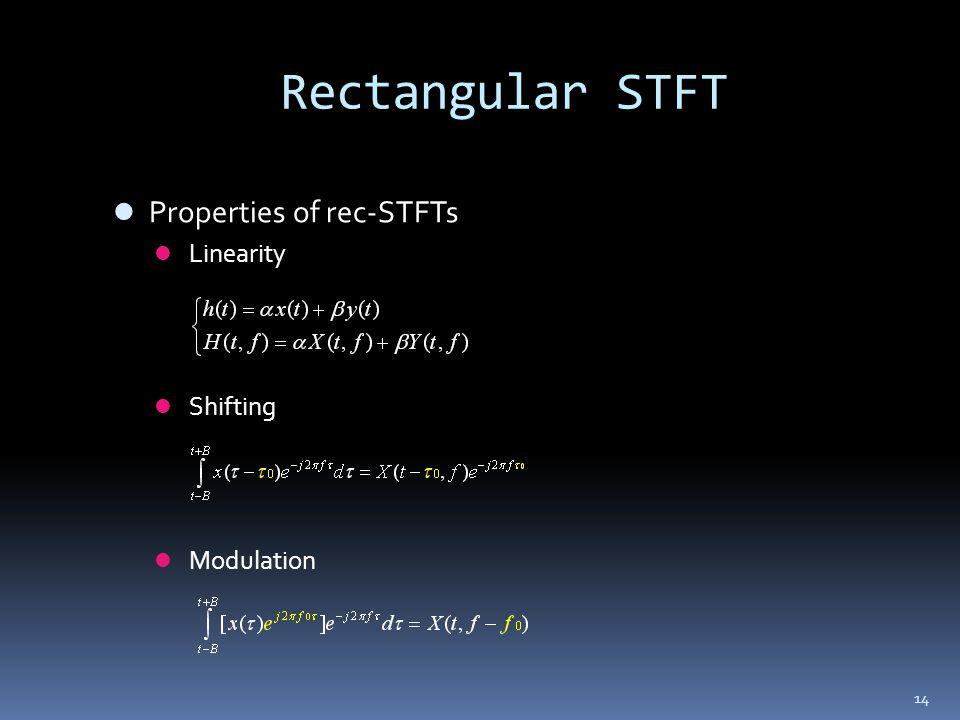 14 Rectangular STFT Properties of rec-STFTs Linearity Shifting Modulation