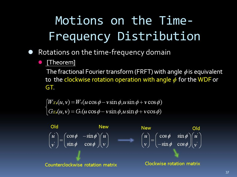 37 Motions on the Time- Frequency Distribution Rotations on the time-frequency domain [Theorem] The fractional Fourier transform (FRFT) with angle is