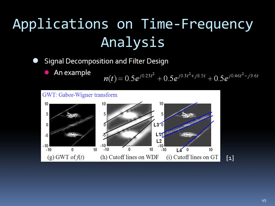 45 Applications on Time-Frequency Analysis Signal Decomposition and Filter Design An example [1]