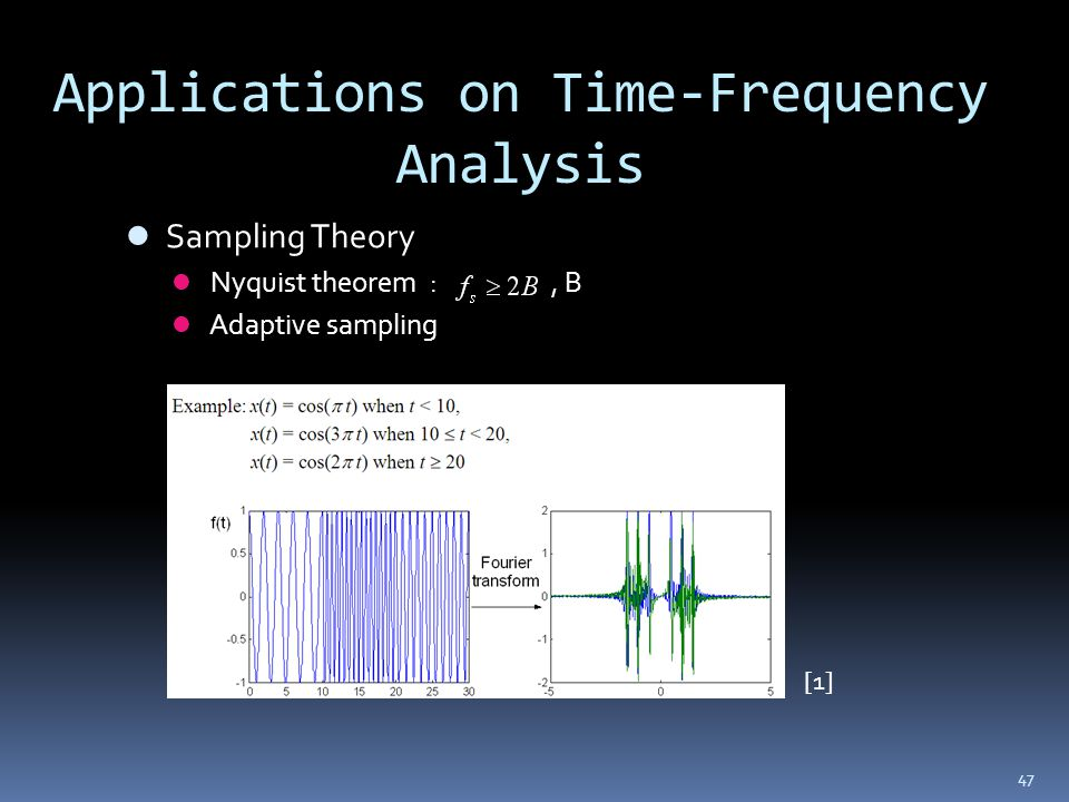 47 Applications on Time-Frequency Analysis Sampling Theory Nyquist theorem :, B Adaptive sampling [1]