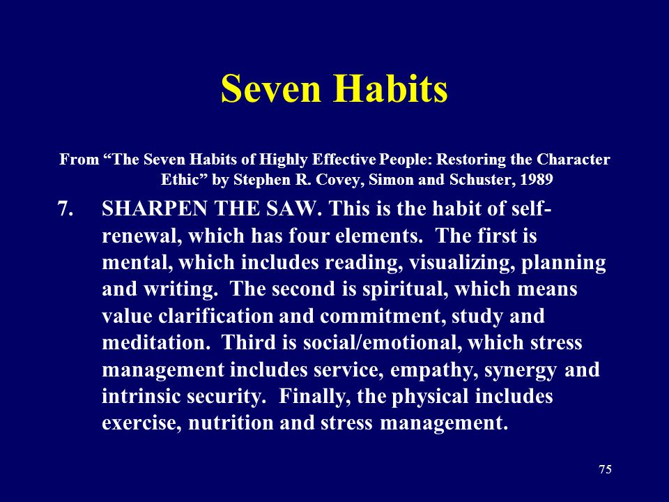 75 Seven Habits From The Seven Habits of Highly Effective People: Restoring the Character Ethic by Stephen R. Covey, Simon and Schuster, 1989 7.SHARPE