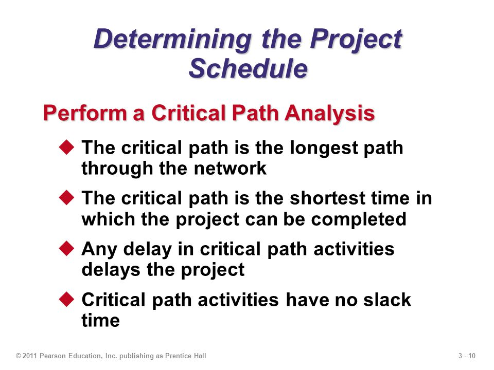 3 - 10© 2011 Pearson Education, Inc. publishing as Prentice Hall Determining the Project Schedule Perform a Critical Path Analysis The critical path i