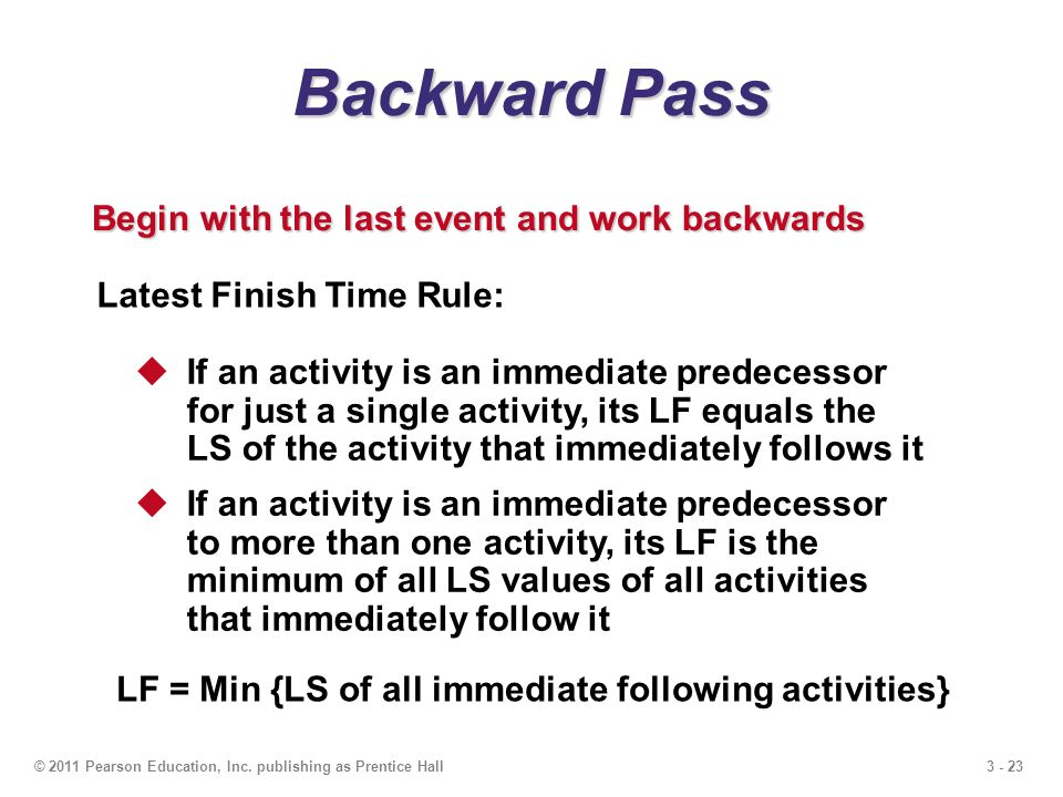 3 - 23© 2011 Pearson Education, Inc. publishing as Prentice Hall Backward Pass Begin with the last event and work backwards Latest Finish Time Rule: I