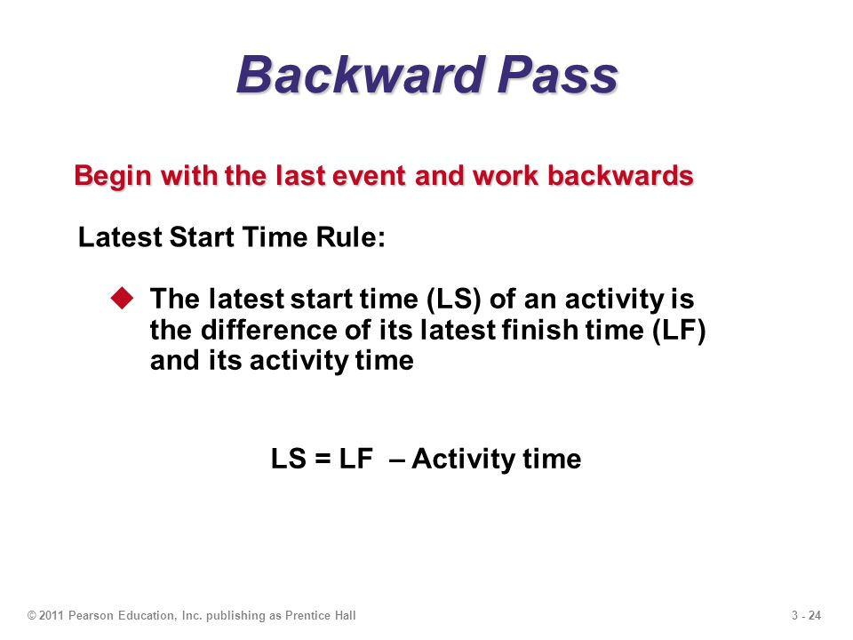 3 - 24© 2011 Pearson Education, Inc. publishing as Prentice Hall Backward Pass Begin with the last event and work backwards Latest Start Time Rule: Th