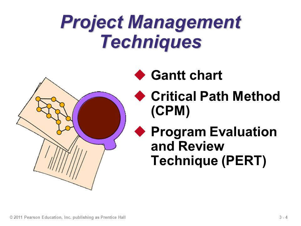 3 - 4© 2011 Pearson Education, Inc. publishing as Prentice Hall Gantt chart Critical Path Method (CPM) Program Evaluation and Review Technique (PERT)