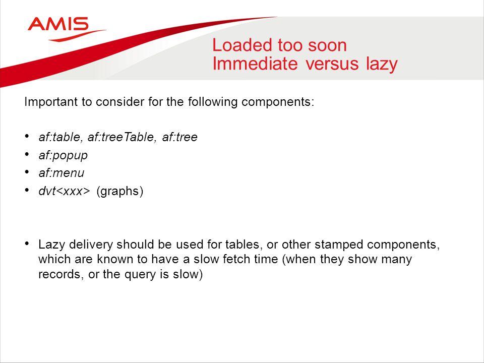 Loaded too soon Immediate versus lazy Important to consider for the following components: af:table, af:treeTable, af:tree af:popup af:menu dvt (graphs