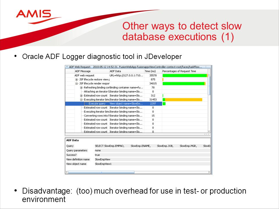 Other ways to detect slow database executions (1) Oracle ADF Logger diagnostic tool in JDeveloper Disadvantage: (too) much overhead for use in test- o