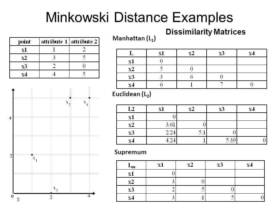 5 Dissimilarity Matrices Manhattan (L 1 ) Euclidean (L 2 ) Supremum Minkowski Distance Examples