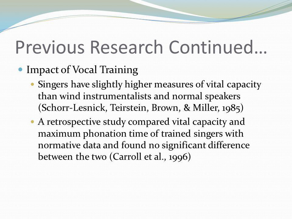 Previous Research Continued… Impact of Vocal Training Singers have slightly higher measures of vital capacity than wind instrumentalists and normal speakers (Schorr-Lesnick, Teirstein, Brown, & Miller, 1985) A retrospective study compared vital capacity and maximum phonation time of trained singers with normative data and found no significant difference between the two (Carroll et al., 1996)