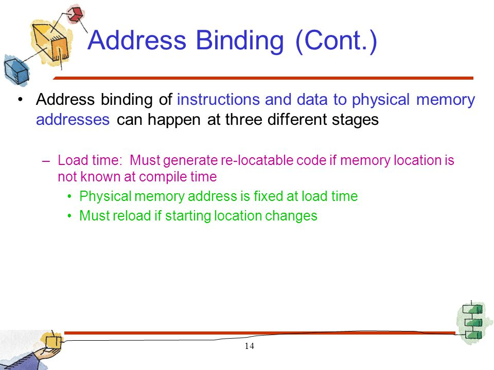 Address Binding (Cont.) Address binding of instructions and data to physical memory addresses can happen at three different stages –Load time: Must ge