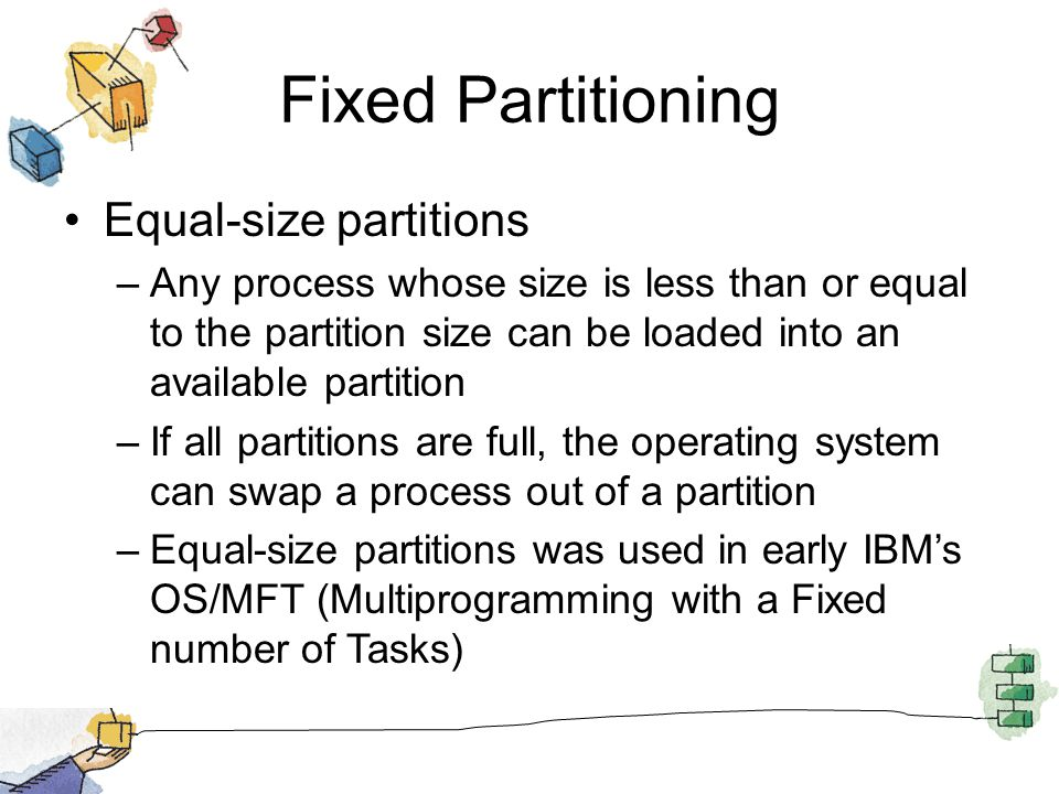 Fixed Partitioning Equal-size partitions –Any process whose size is less than or equal to the partition size can be loaded into an available partition