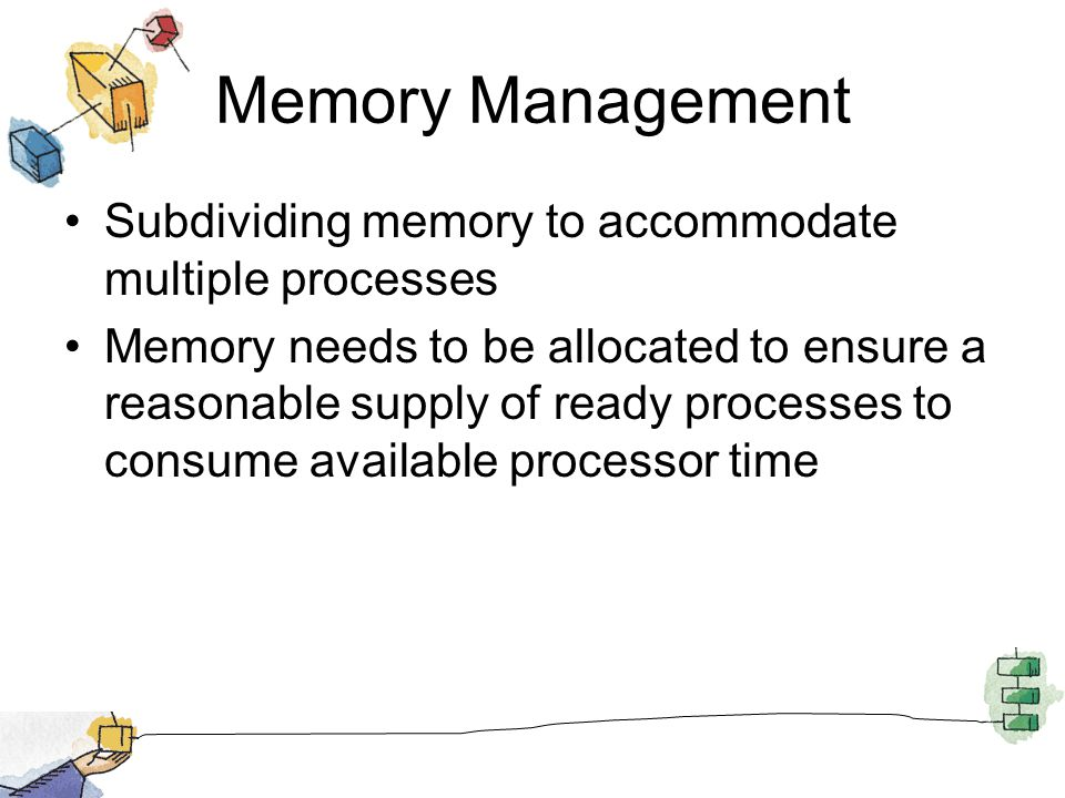 Memory Management Subdividing memory to accommodate multiple processes Memory needs to be allocated to ensure a reasonable supply of ready processes t
