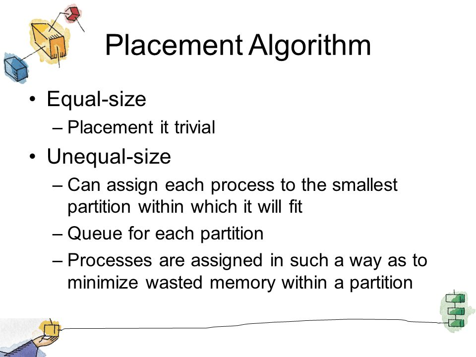 Placement Algorithm Equal-size –Placement it trivial Unequal-size –Can assign each process to the smallest partition within which it will fit –Queue f