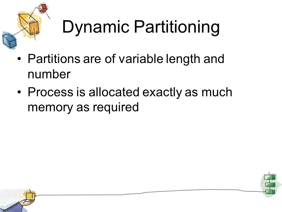 Dynamic Partitioning Partitions are of variable length and number Process is allocated exactly as much memory as required