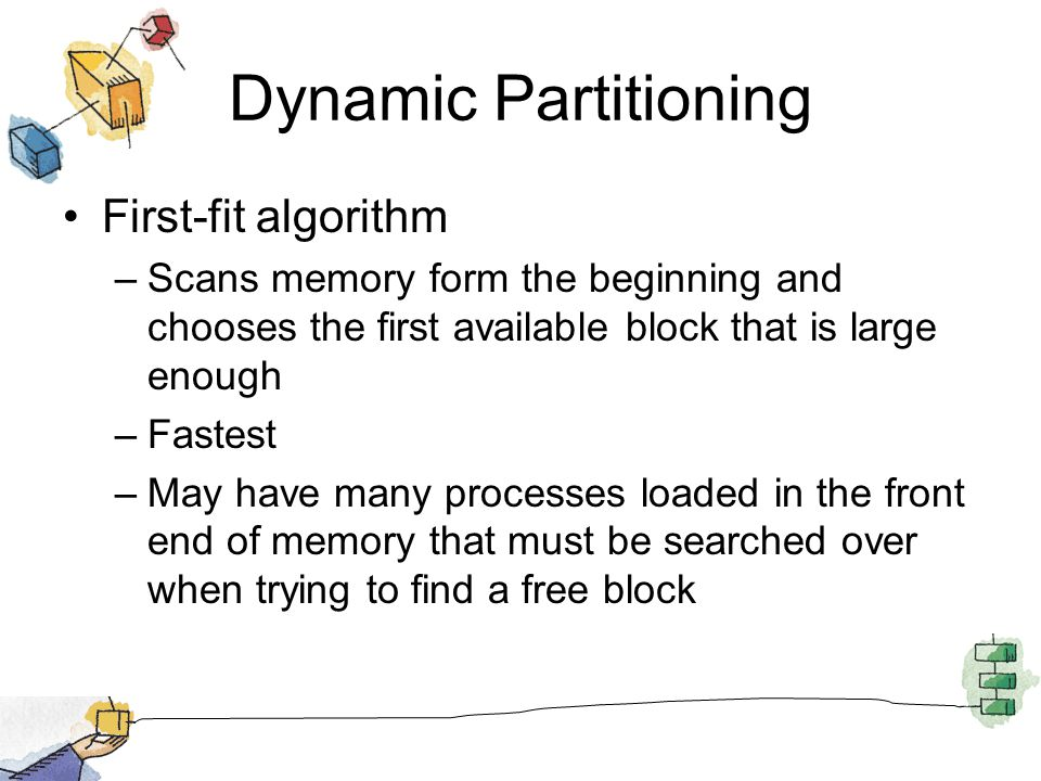 Dynamic Partitioning First-fit algorithm –Scans memory form the beginning and chooses the first available block that is large enough –Fastest –May hav