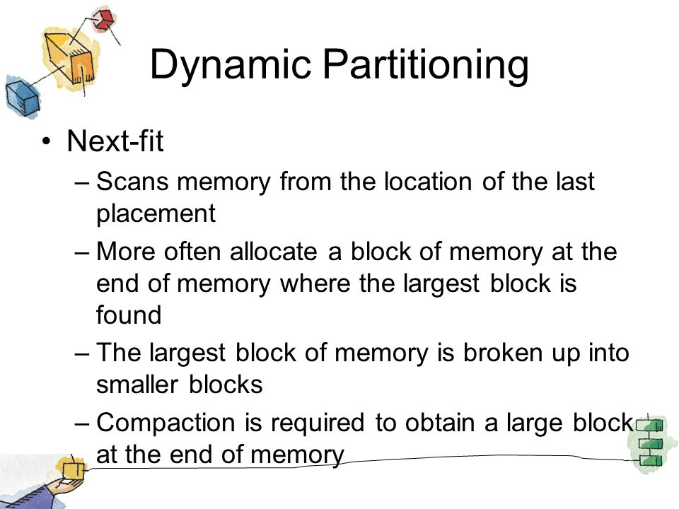 Dynamic Partitioning Next-fit –Scans memory from the location of the last placement –More often allocate a block of memory at the end of memory where