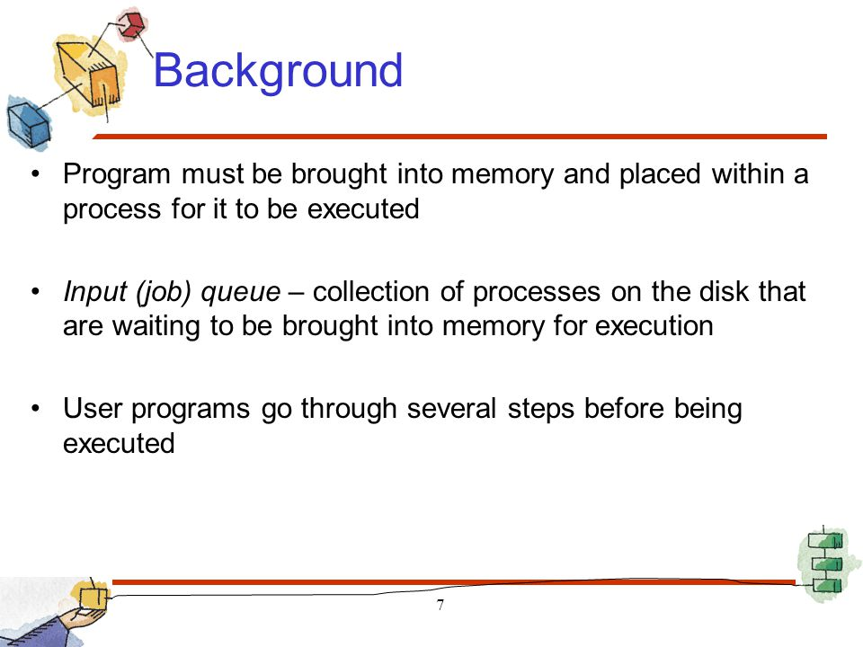 Steps for Loading a Process in Memory The linker combines object modules into a single executable binary file (load module) The loader places the load module in physical memory 8 System Library static linking dynamic linking Linking: combine all the object modules of a program into a binary program image