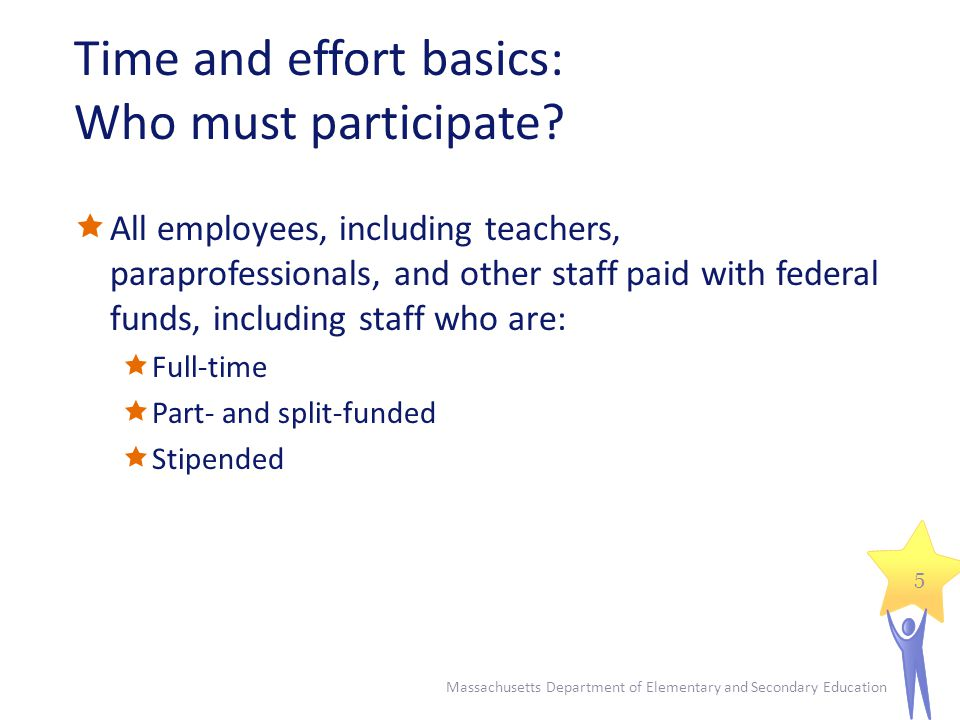 Time and effort basics: Who must participate.