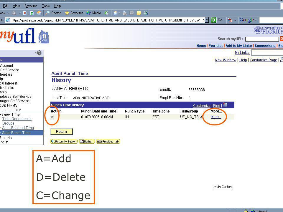 A=Add D=Delete C=Change