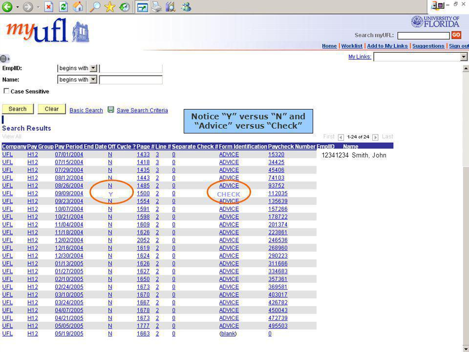 CHECK 12341234 Smith, John Notice Y versus N and Advice versus Check Y