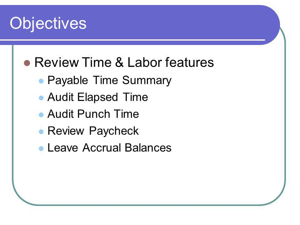 Objectives Review Time & Labor features Payable Time Summary Audit Elapsed Time Audit Punch Time Review Paycheck Leave Accrual Balances