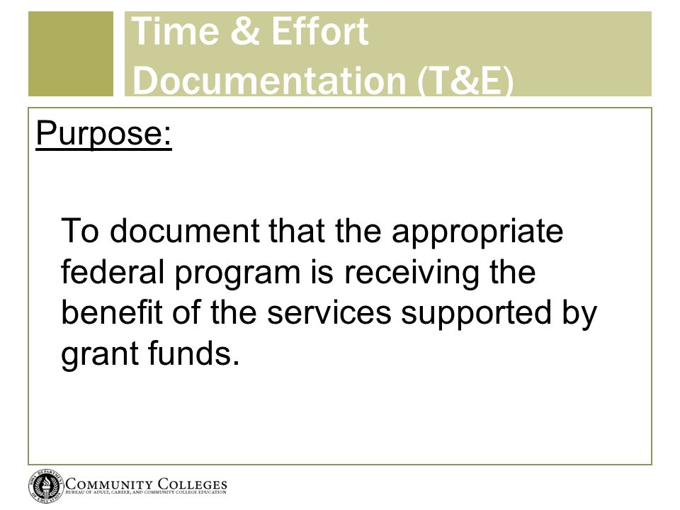 Time & Effort Documentation (T&E) Purpose: To document that the appropriate federal program is receiving the benefit of the services supported by gran