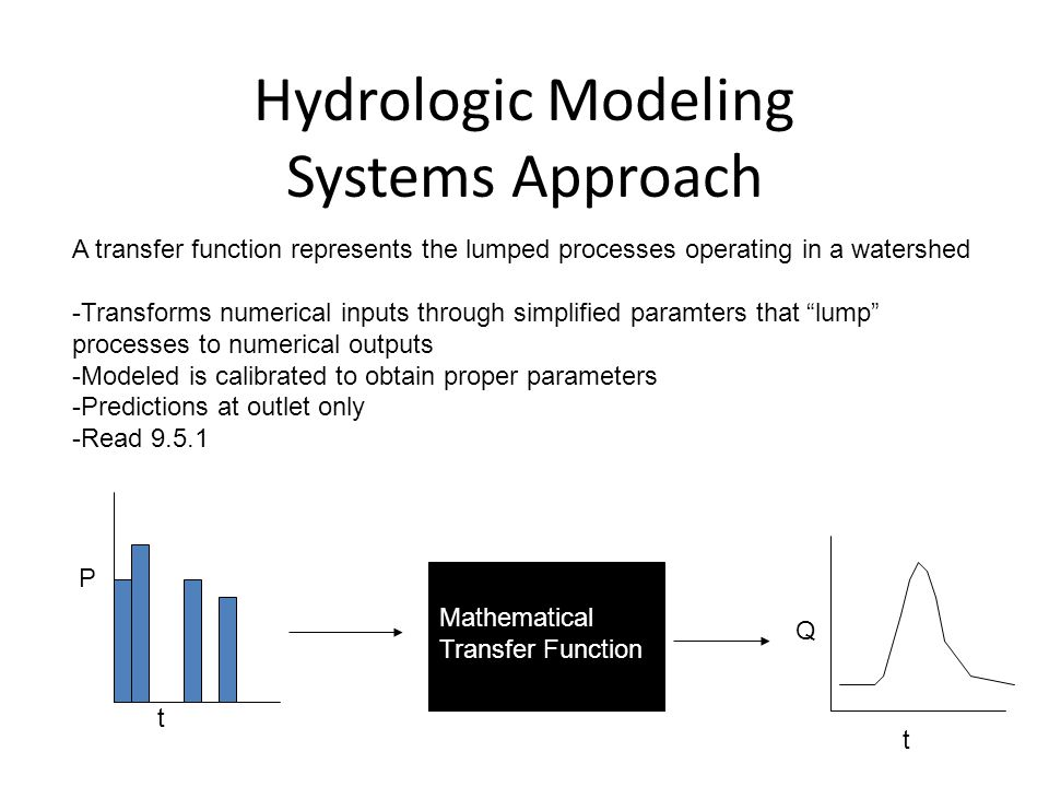 Hydrologic Modeling Systems Approach A transfer function represents the lumped processes operating in a watershed -Transforms numerical inputs through simplified paramters that lump processes to numerical outputs -Modeled is calibrated to obtain proper parameters -Predictions at outlet only -Read 9.5.1 P t Q t Mathematical Transfer Function