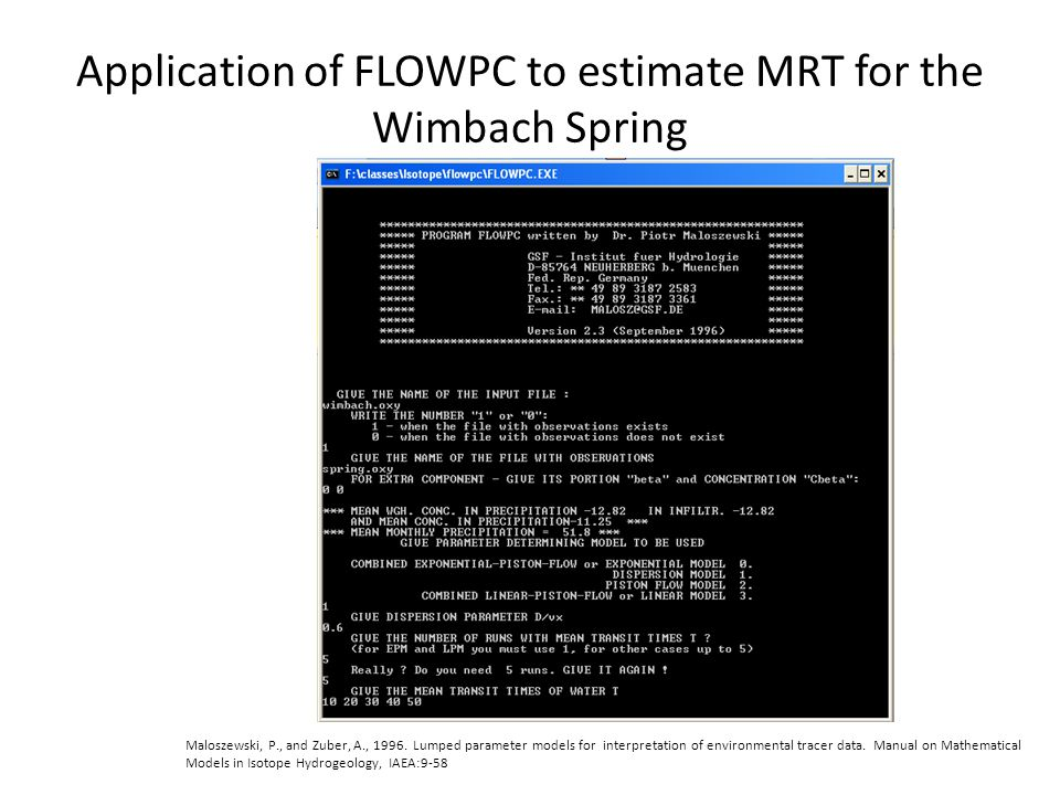 Application of FLOWPC to estimate MRT for the Wimbach Spring Maloszewski, P., and Zuber, A., 1996.