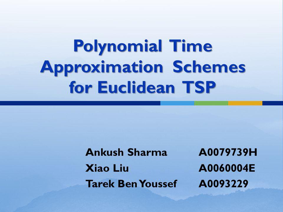 Polynomial Time Approximation Schemes for Euclidean TSP Ankush SharmaA0079739H Xiao LiuA0060004E Tarek Ben YoussefA0093229