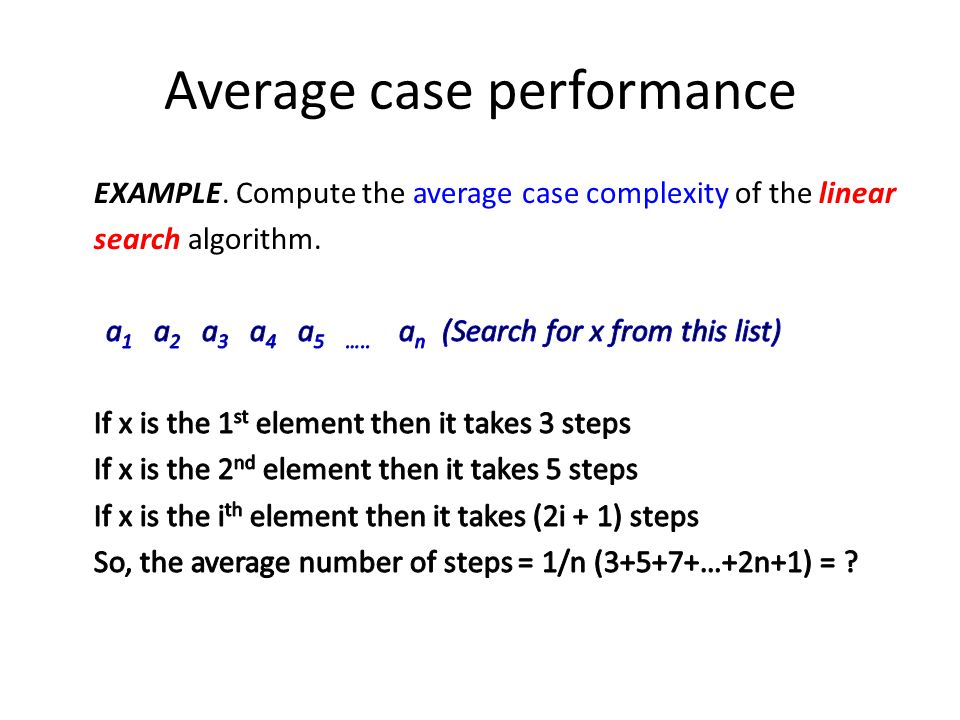 Average case performance
