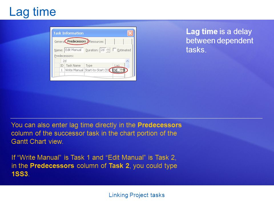 Linking Project tasks Lag time Lag time is a delay between dependent tasks.